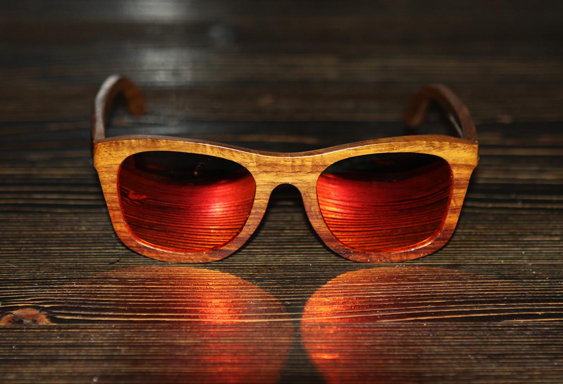 Очки солнечные NM-1138 в деревянной оправе (красное дерево)